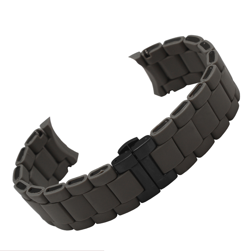 Watchbands 20mm 23mm,High Quality rubber Watchband Diamond Watch fit AR5890 AR5905 AR5919 AR5920 watches  Bracelet 20mm 23mm curved end watchbands rubber wrap rose gold stainless steel watch strap solid link bracelet for ar5890 5905 5919 5858