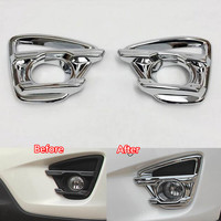 YAQUICKA 2Pcs Auto Car Front Fog Light Lamps Foglight Cover Trim Styling Sticker Fit For Mazda CX-5 2015 Styling Mouldings ABS