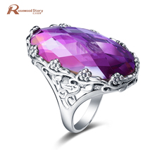 Retro Handmade Charming Flower Ring Big Stone Pink Crystal Women Wedding Jewelry 925 Sterling Silver Engagement Ring Bague Femme