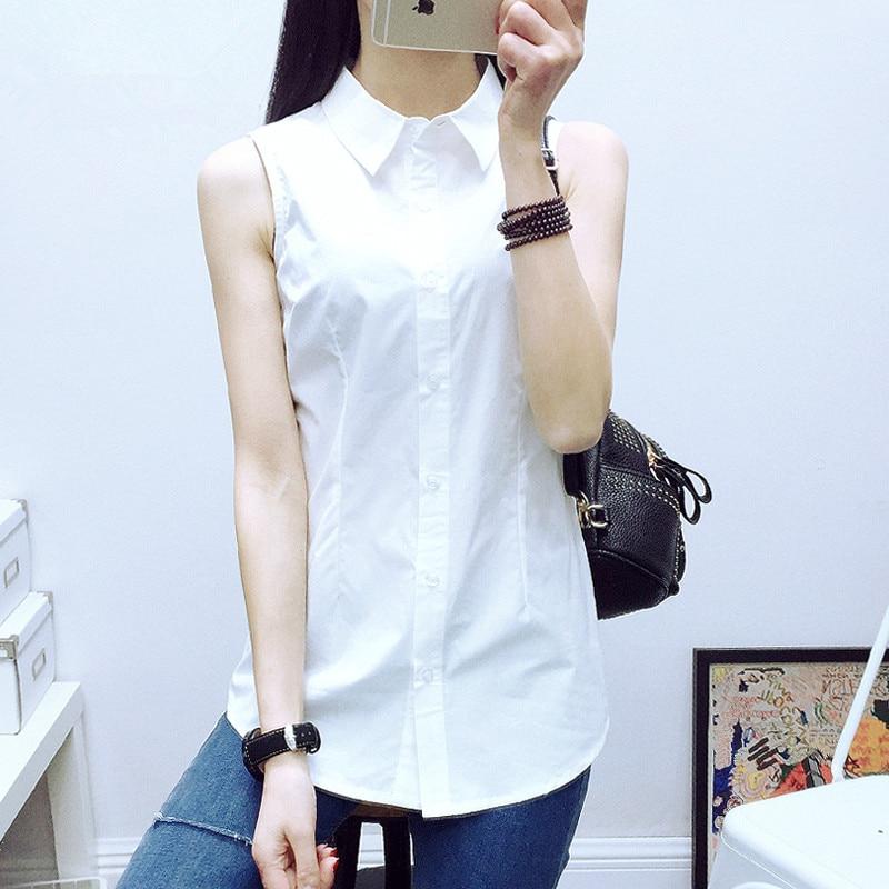 S-5XL Nova ženska bombažna majica Poletje 2019 Elegantna pisarna Lady Bela majica brez rokavov Slim OL Delovni vrhovi Tee Ženska Plus velikost