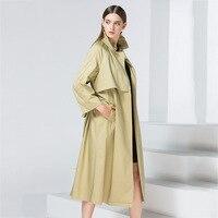 European Trench Coat Runway Elegant Long Green Dress Coats Ladies Autumn Winter 2017 Fall Womens Outwear
