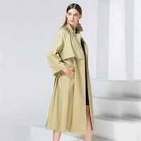 European Trench Coat Runway Elegant Long Green Dress Coats Ladies Autumn Winter 2017 Fall Womens Outwear Windbreakers Women Cape