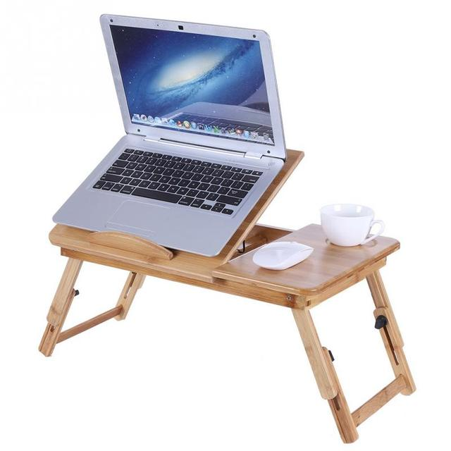 Portable Folding Bamboo Laptop Table Sofa Bed Office Stand Tray Desk For Computer