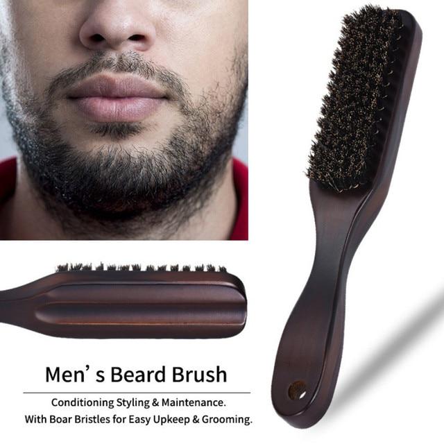 Cepillo de limpieza de cerdas de jabalí con mango de madera, cepillo de barba para hombres, herramientas de afeitado para peluquería antiestática