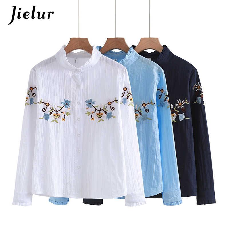 Jielur осеннее рубашка женская Повседневная Вышивка Blusas Черные милые женские топы с длинными рукавами белая блузка Простая рубашка блузка и Chemisier