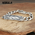 100% Genuine 925 Sterling Silver Vintage Punk Tiger Link Chain Bracelet Thai Silver Jewelry for Man or Women