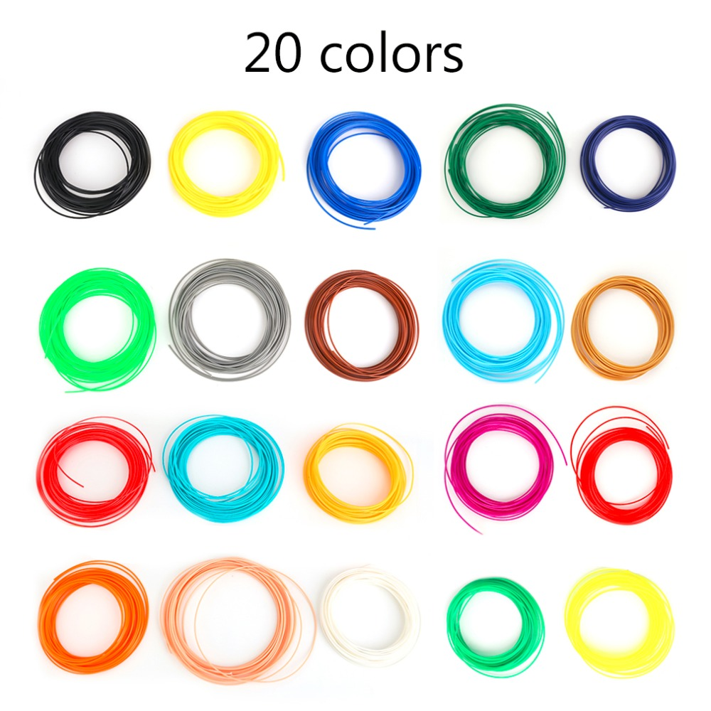 Top Quality Universal 10M Length 20 Colors PLA/ABS 3D Printer Filament 1.75MM 3D Print Filament For 3D Printer 3D Printing Pen 3d printer filament 50m 5 colors 10m color abs pla 1 75mm 3d filament printing materials for 3d printing pen 3d printer