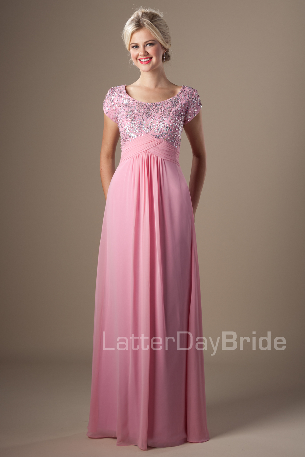 Sparkly Beaded Bodice Flowy Chiffon Pink Prom Long Dress Sequins ...