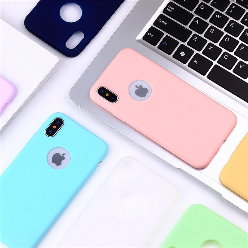BINYEAE For iPhone 5 5S SE 6 6S 7 8 Plus Case Soft TPU Candy Color Cover For iPhone 8 Plus Case For iPhone X XS XR XS MAX Case