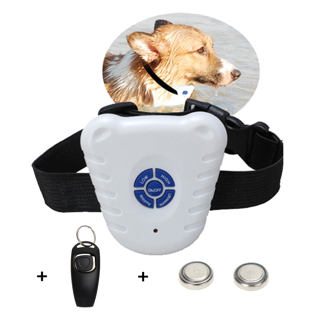 Dog Clicker Anti Bark Dog Training Collar Vattentät Justerbar - Produkter för djur