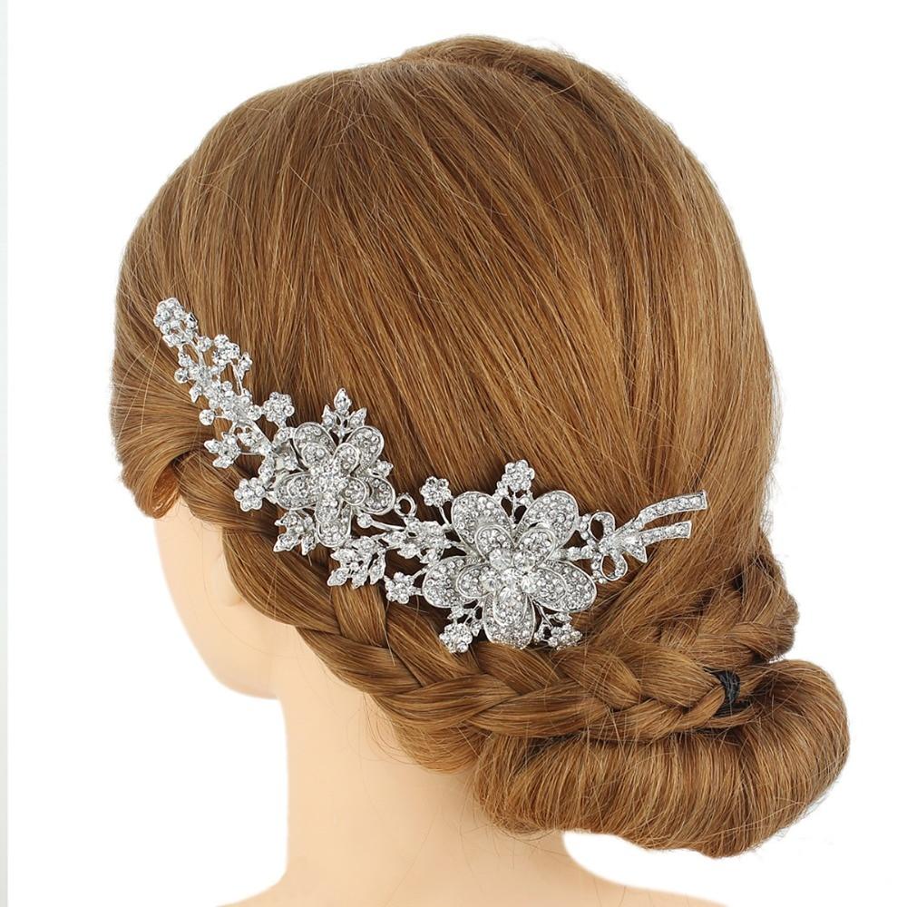 BELLA Classic Flower Silver Gold Tone Wedding Accessories Bridal Hair Comb Piece Clear Austrian Crystal Bridesmaid