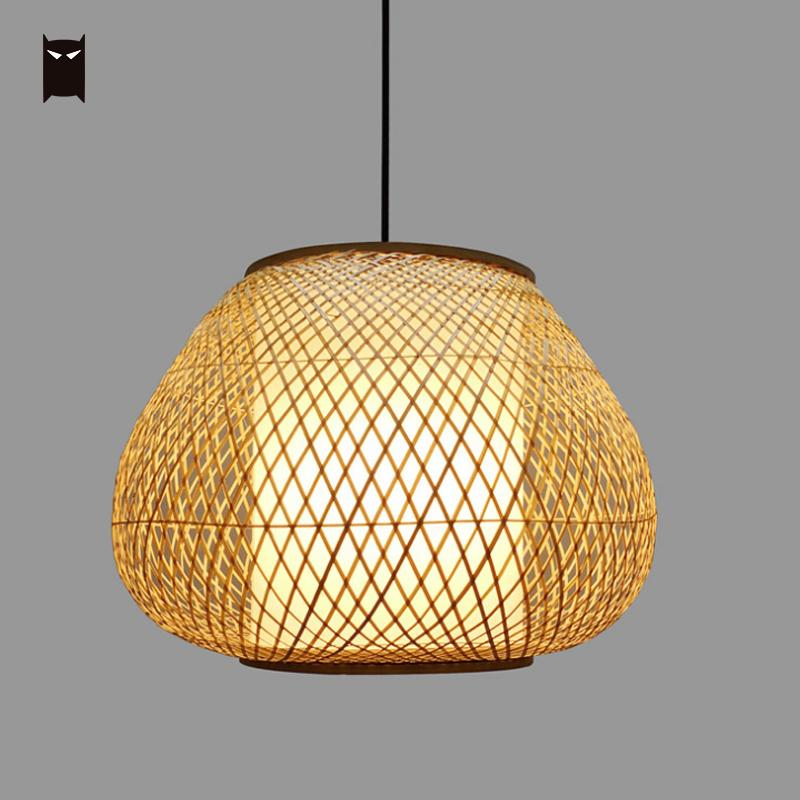 Bamboo Wicker Rattan Hand Shade Pendant Light Fixture Rustic Primitive Vintage Anese Style Hanging Lamp For Dining Table Room In Lights From