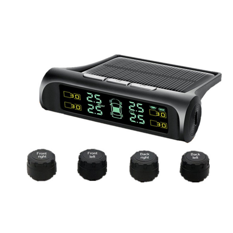 Smart car TPMS solar car tire tire pressure detection system solar charging digital LCD monitor car safety alarm system