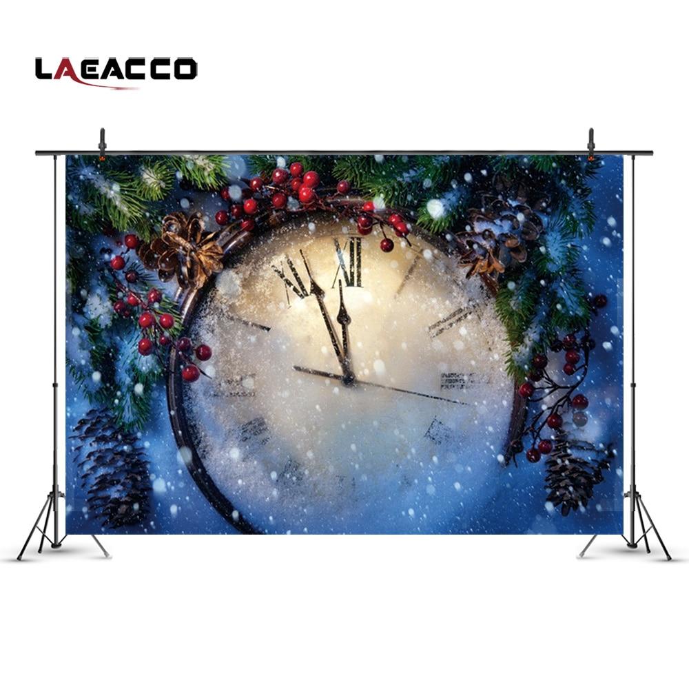 Laeacco Christmas New Year Clock Pine Nut Snowflake Photography Backgrounds Vinyl Custom Camera Photo Backdrops For Photo Studio