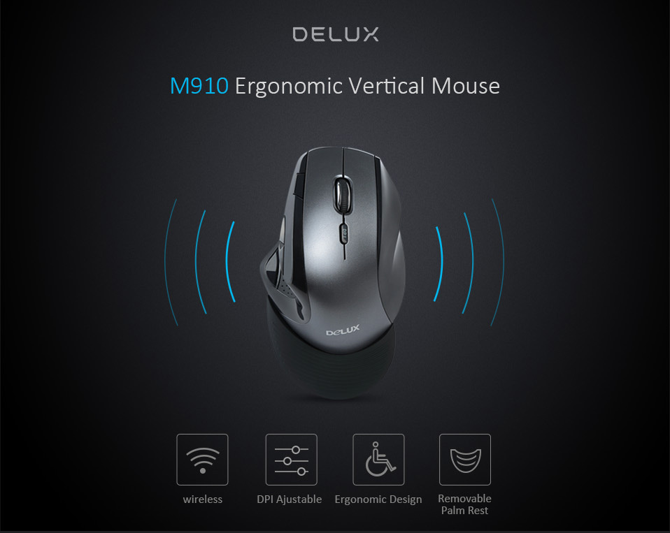 Delux m910gb 2.4ghz wireless mouse 9 buttons 2400 dpi ergonomic vertical office mice with removable palm rest for pc laptop