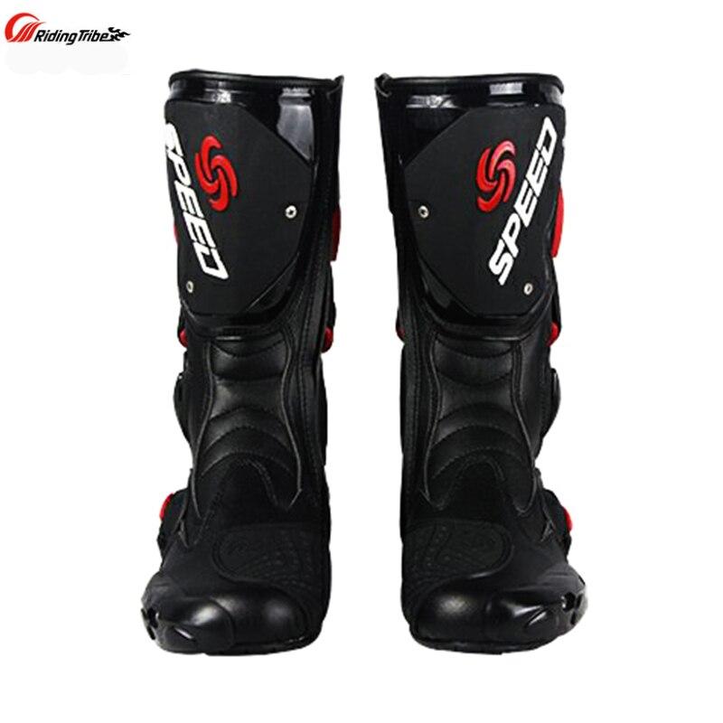 Stivali Da moto Velocità degli uomini di Corse di Motocross In Microfibra In Pelle di Avvio Moto goccia resistenza stivali - 4
