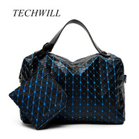 New 2017 Laser Spot 2 Pieces Set Women Handbag Japanese Style Lady Geometry Style Female Bags