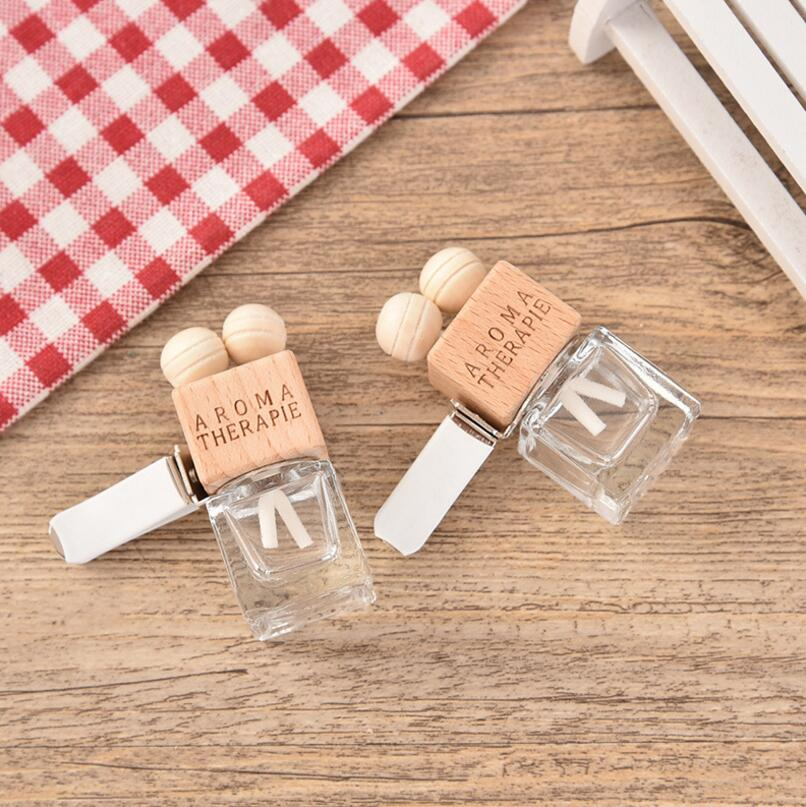 6ML Transparent Glass Car Perfume Tuber Square Car Perfume Bottle with Wooden Cap LX1466