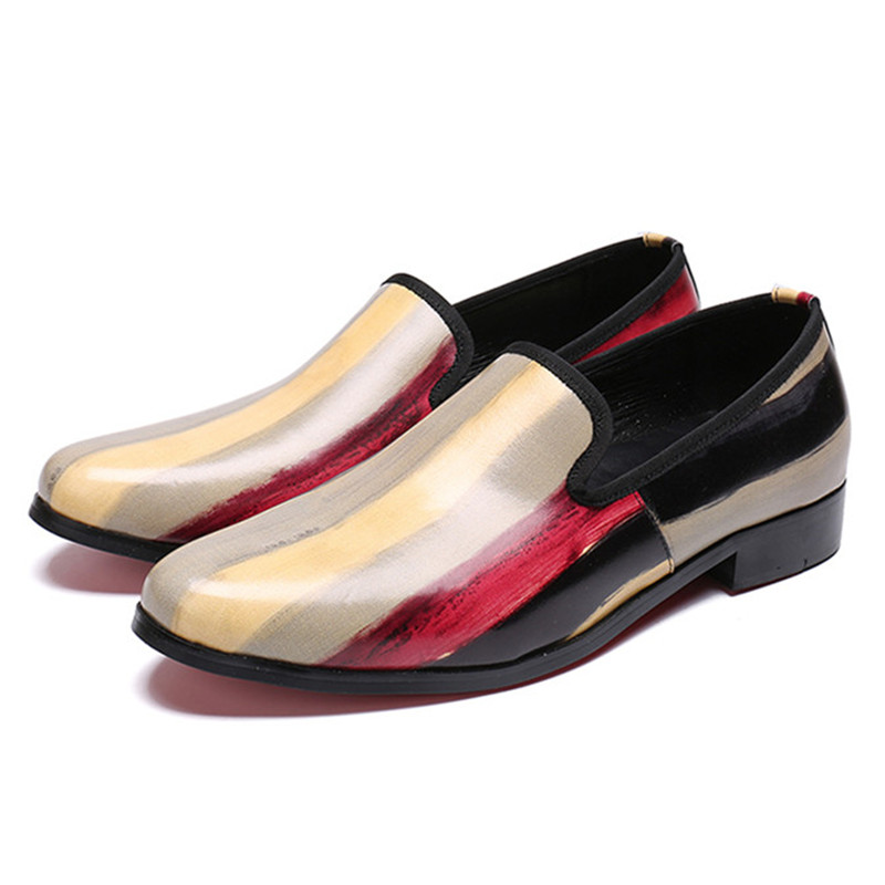 Apricot loafer round toe shoes real Oxford  Breathable mix colors male shoes slip on personality hair stylist shoes(China)