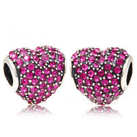 CHARM030 Authentic 925 Sterling Silver Pave Ruby CZ Heart Shape Charms Original Fits European Bracelets Colorful