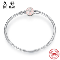 To first love 925 Sterling Silver Charm Pink Rose Bow tie snake bone chain Bracelets fashion jewelry womens accessories trendy