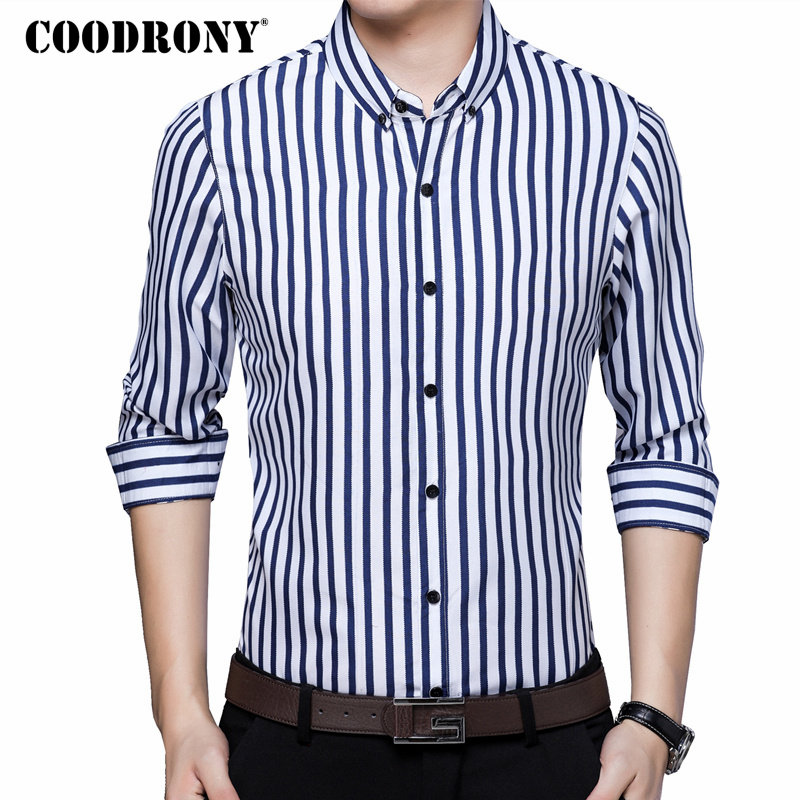 COODRONY Casual Shirts Classic Striped Long Sleeve Shirt Men Clothes 2018 Autumn New Arrival Cotton Camisa Social Masculina 8740