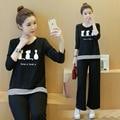 Black Maternal  Cotton Sweater Suit Pregnant Breast Feeding Clothes Clothes For Pregnant Women Pajamas  Suit Pregnant Women