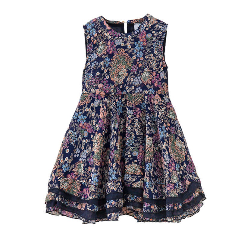 4 to 14 years kids & teenager girls summer floral print sleeveles chiffon casual dress children transparent back dresses clothes
