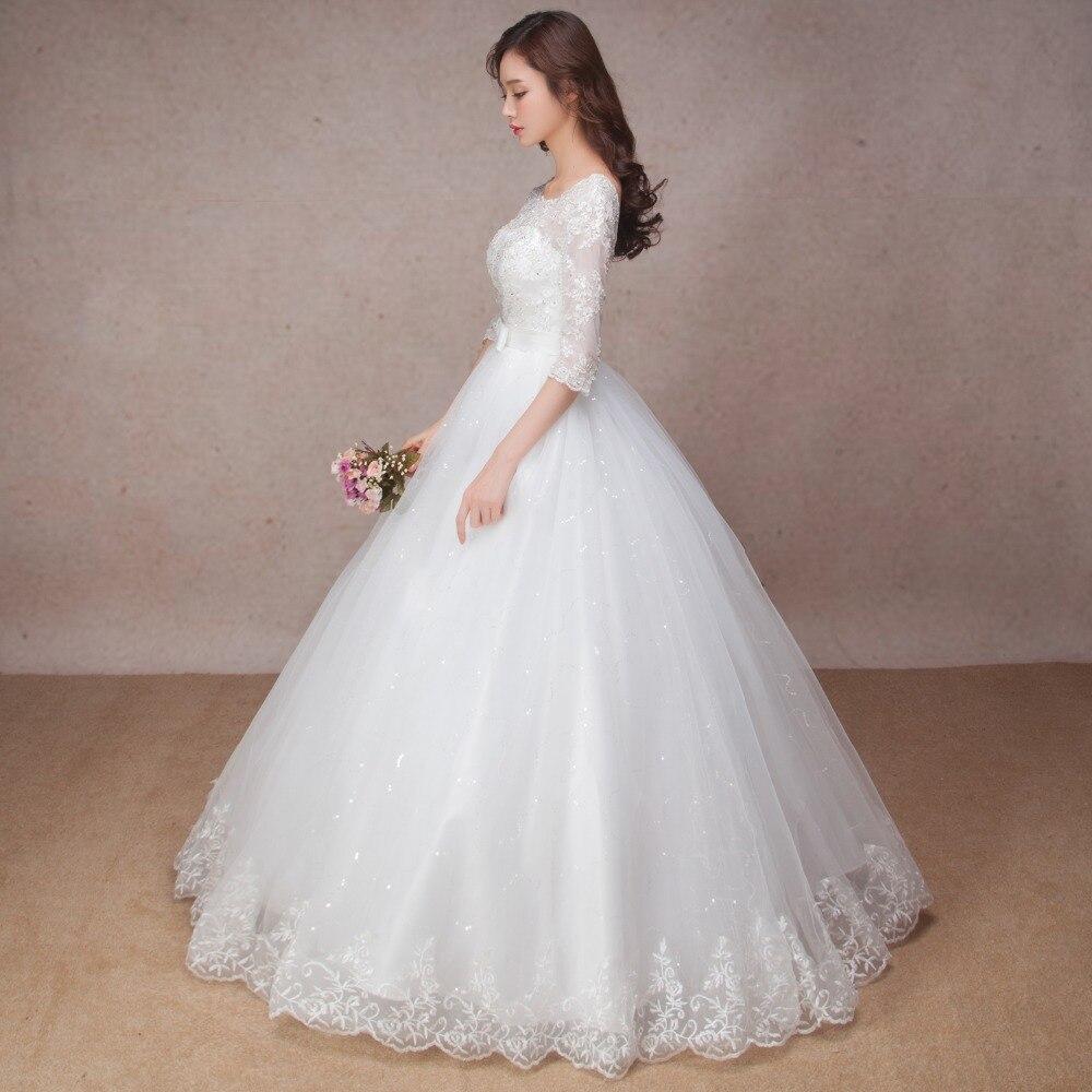 Longue demi manches robe de mariée en dentelle musulmane de haute qualité 2019 mariée simple robe de mariée photo réelle robe de mariée vestido de noiva - 3