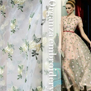 Mewah Mode Warna Ganda Kombinasi Bunga Kecil Kain Organza Bordir