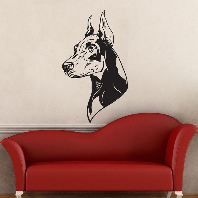 New Arrival Dog Doberman Pinscher Wall Decal Hot Art Home  Decor Sticker Vinyl Mural Animal Living Room Wall Stickers ES-38