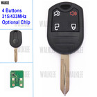 WALKLEE Remote Key fit for Ford Car for MUSTAN EXPLORER EDGE ESCAPE EXPEDITION FLEX FUSION TAURUS 315MHz and 433MHz Available