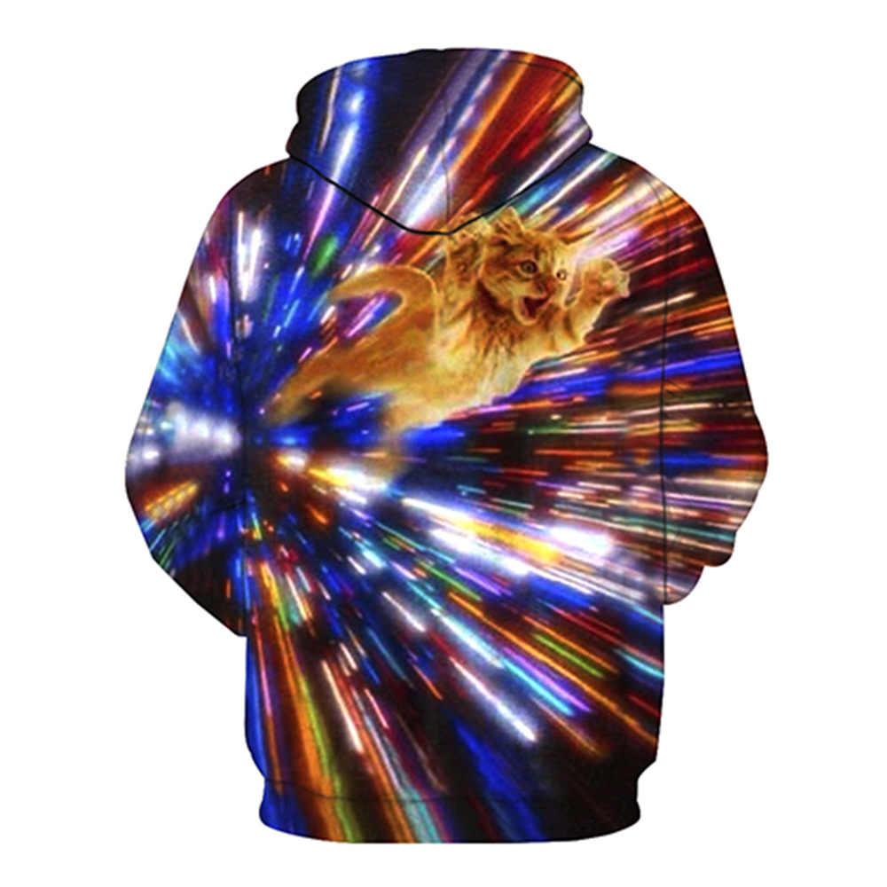 3D туннель кошка Принт толстовки Для мужчин Для женщин 2018 осенью новый Повседневное толстовка с капюшоном Для мужчин хип-хоп уличной пуловер с капюшоном