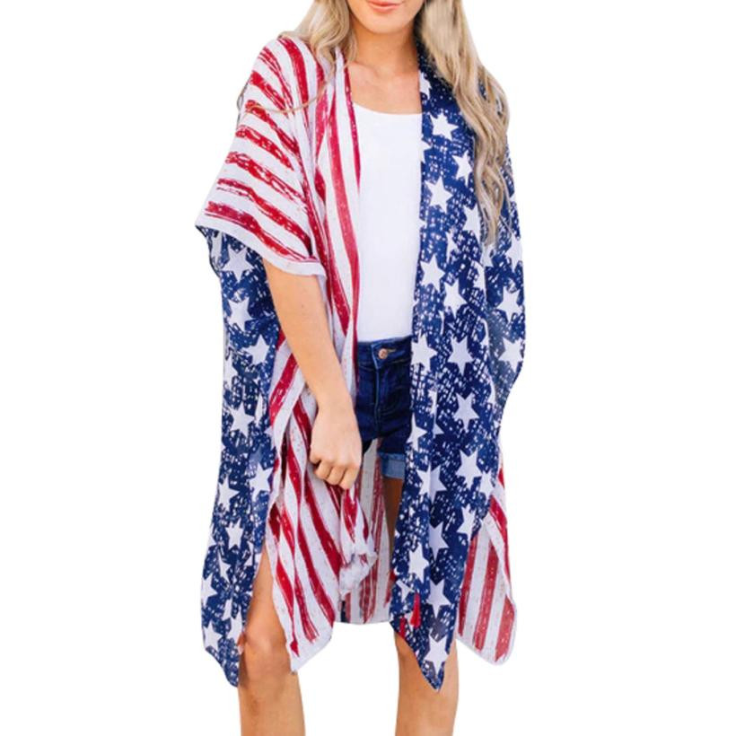 American Flag Print Beach Blouse Women Loose Shawl Kimono Cardigan Top Cover Blouse Batwing Half Sleeve Blouses Boho Blouses #22