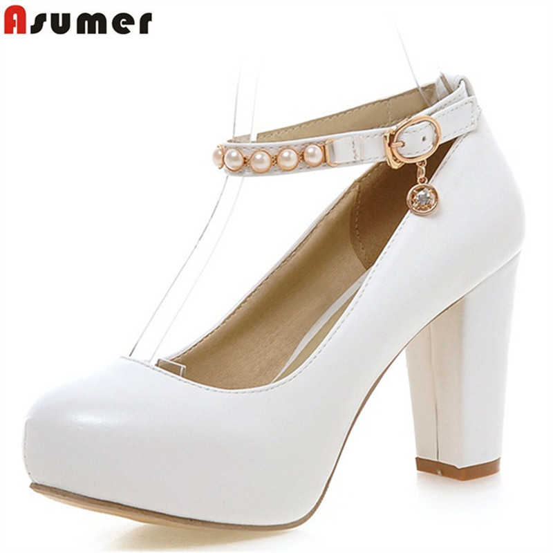 Asumer square heels women pumps round toe lace-up buckle high heel pu large size 33-43 platform shoes 6 colors lady shoe