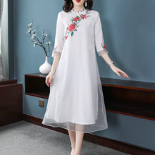 Plus Size Dress Women S-XXL 2019 Spring Summer New Flowers Embroidered Stand Collar Loose A-Line Chinese Style Elegant