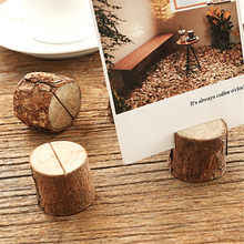 10 Pcs Stand Number Table Menu Picture Photo Clip Card Holder Wooden Stump Shape Wedding Party Place Card Holder(China)