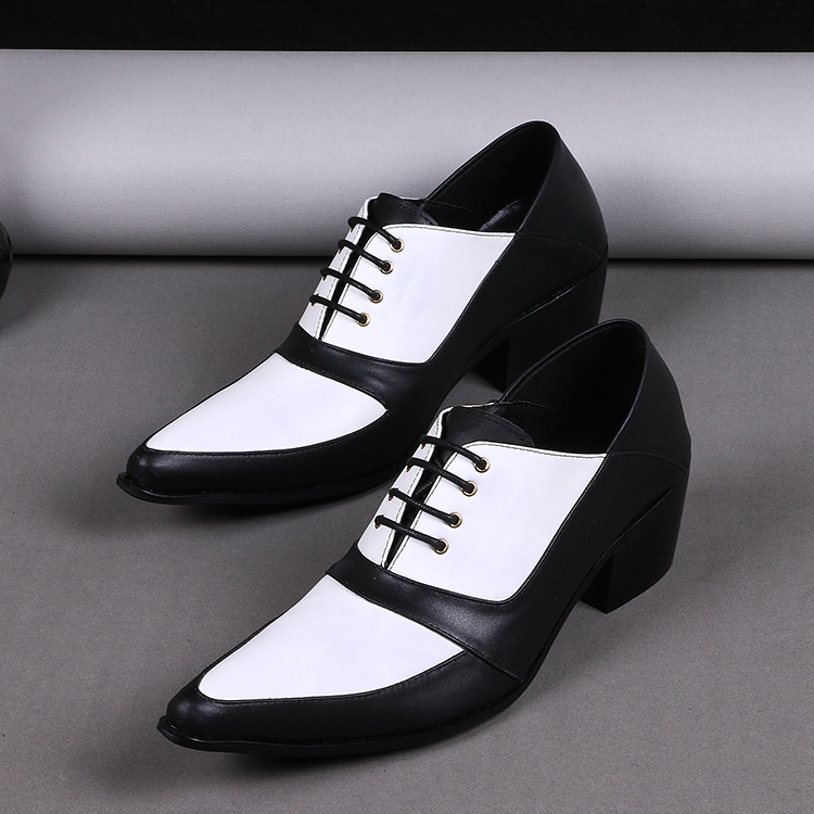2016 best selling black white mixed color men shoes genuine leather oxfords for party dress wedding classic pointed laced oxford classic contrast color club mini dress white black