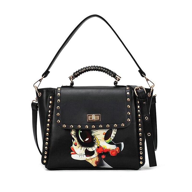 Women Rivet Vintage bag shoulder ladies hand bags PU leather handbag sac 2017 woman bags handbags women famous brand sac a main