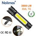 USB зарядное устройство светодиодный фонарик 18650 3800LM фонарик перезаряжаемый 4 режима масштабируемый Тактический XML T6 COB магнит Открытый Кемпи...