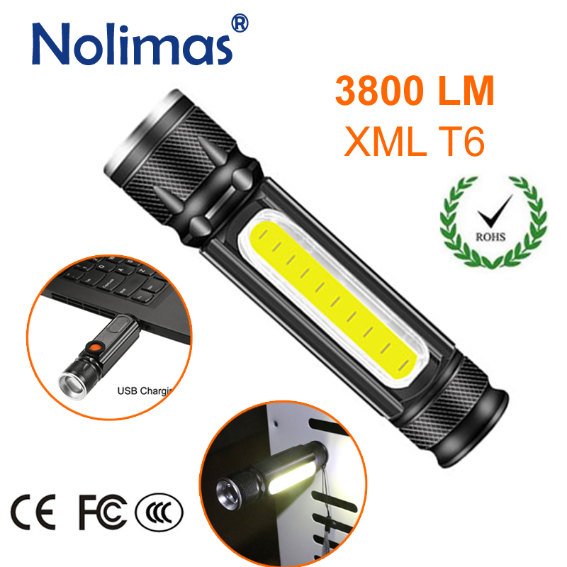 USB Charger LED <font><b>Flashlight</b></font> <font><b>18650</b></font> 3800LM Torch Rechargeable <font><b>4</b></font> Modes Zoomable Tactical XML T6 COB Magnet Outdoor Camping Lanterna image