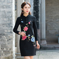 Paño romano pesado bordado flores tight dress mujer de manga larga de cuello alto con botón de fitness sexy vestidos de primavera otoño