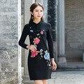 Pesado roman pano bordado flores apertado dress mulheres vestidos de manga longa gola com botão de fitness sexy primavera outono