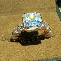 Настоящее Твердые Серебро 925 и Роуз золотые обручальные кольца ювелирные изделия для Для женщин квадратный 3 карат Sona CZ Diamant Обручение кольц