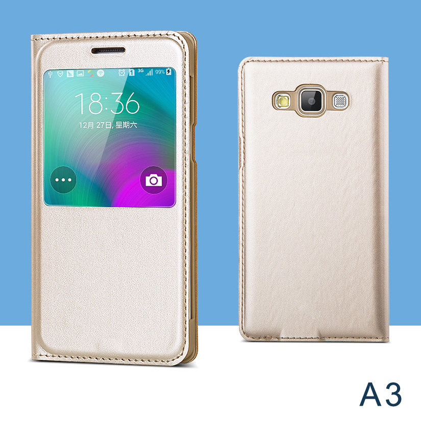 sale retailer ea3e9 3d237 US $9.99  Case for Samsung Galaxy A3 flip smart cover with view window  A3000 phone cases with sleep function leather covers Free shipping on ...