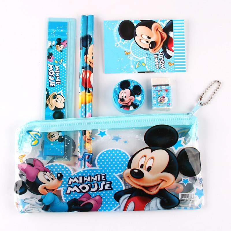 1 Set Mickey Mouse Pencil Case For Children Cute Sticker Estojo Escolar Cartoon Pencil Cases School Stationery Set