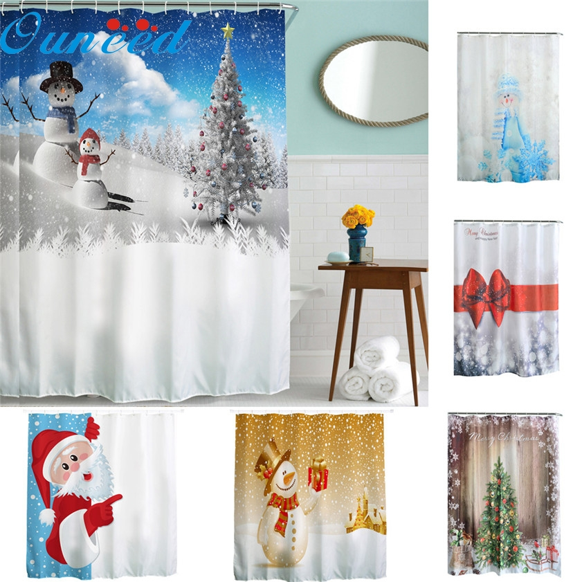 E20 Christmas Kids Waterproof Polyester Bathroom Shower Curtain Decor With Hooks New Jun15 China