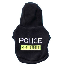 POLICE print pet dog Hooded Coat Fleece winter warm small puppy Jacket Hoodie clothes Black doggy apparel costume sale .