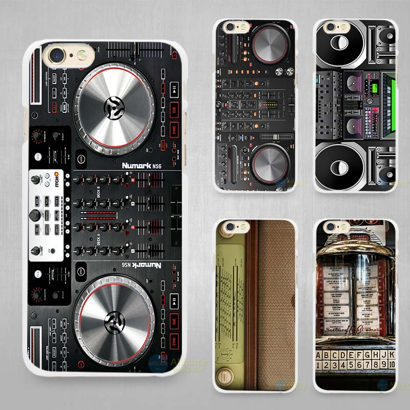 competitive price d76be 15a1c US $1.7 43% OFF|DJ Radio Old Hard White Cell Phone Case Cover for Apple  iPhone 4 4s 5 5C SE 5s 6 6s 7 8 Plus X-in Half-wrapped Case from Cellphones  & ...