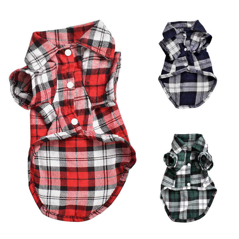 Nieuwe Mode Plaid Hond Shirts T-shirt Zomer Pet Cat Outfit Puppy Kleding voor Kleine Honden Franse Bulldog Pugs Chihuahua Kleding